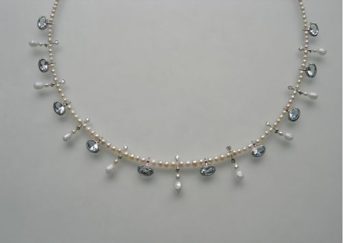 Sigitas Virpilaitis. Kaklo papuošalas. 2012, perlai, akvamartinai, deimantai, auksas,platina / Necklace. Pearls, aquamarine, diamods, platinum, gold