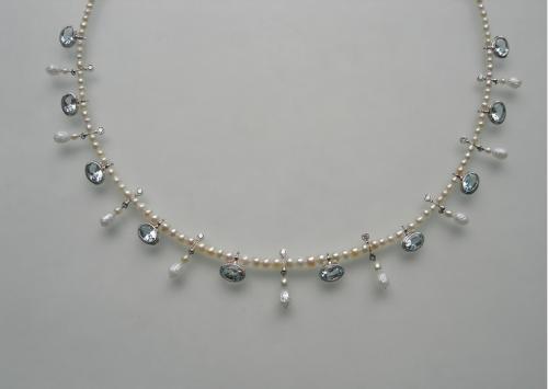 Sigitas Virpilaitis. Kaklo papuošalas. 2012, perlai, akvamartinai, deimantai, auksas,platina / Necklace. Pearls, aquamarine, diamods, platinum, gold
