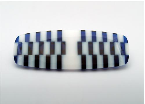 "Sandra Malaškevičiūtė. Sagė OP. 2006, organinis stiklas, sidabras, 85 x 31 mm. / Brooch ""Op Brooch"",plexyglass, silver."